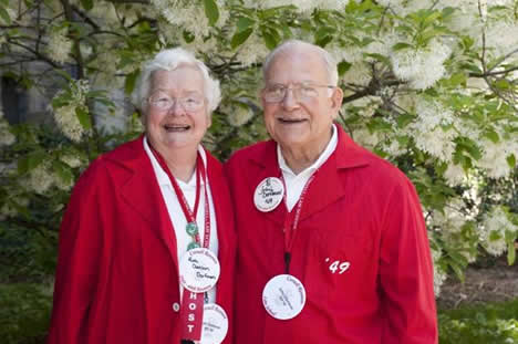 Ruth Dorfman, BS '49, and John Dorfman, JD '49 show their Cornell spirit.