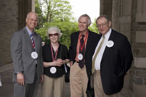 Dean Stewart J. Schwab, Virginia Kenny, Peter Kenny, JD '59, and Shaw Dallal, JD '59.