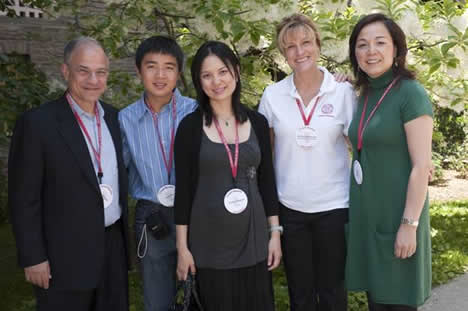 Mike Margolis, JD '79, James Wu, Claudia Margolis, Kristine Hoffmeister, director of alumni affairs and Annie Wu, JD '01.