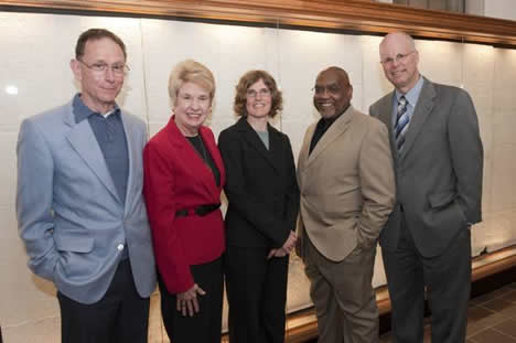 Cornell ILR School Associate Professor of Collective Bargaining, Labor Law and Labor History, Michael Gold, Rosemary Pye, JD '74, Cornell ILR Assistant Professor of Employment and Labor Law, Kate Griffith, Homer LaRue, JD '74, MILR '75 and Dean Schwab.